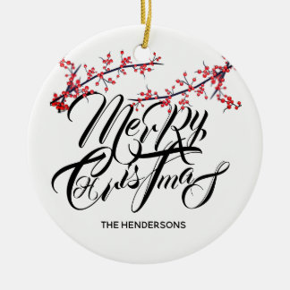 Merry Christmas Happy New Year with Name & Date - Ceramic Ornament