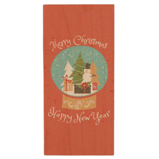Merry Christmas Happy New Year Wood USB 3.0 Flash Drive