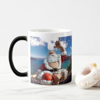 Merry Christmas Hawaii Santa Claus with a Turtle Magic Mug