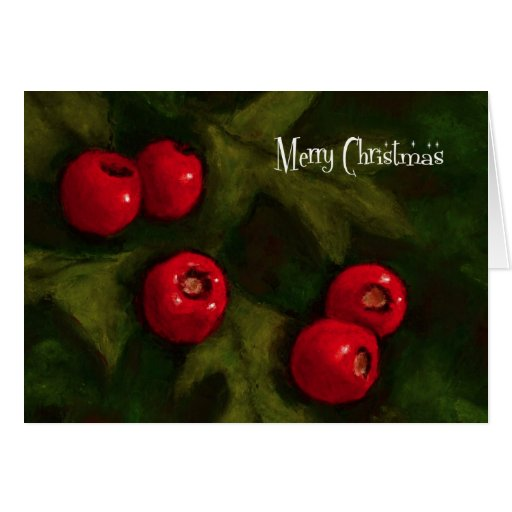Merry Christmas: Hawthorn Berries: Painting Greeting Cards