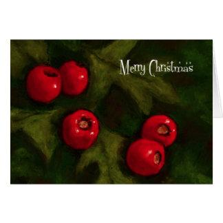 Merry Christmas: Hawthorn Berries: Painting Greeting Card