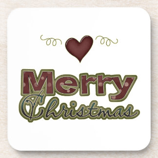 Merry Christmas Heart Drink Coasters