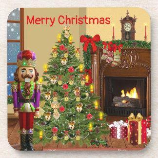 Merry Christmas hearth scene nutracker coasters