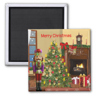 Merry Christmas hearth scene with nutracker magnet