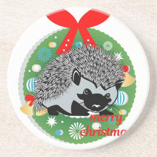 merry christmas hedgehog coaster