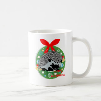 merry christmas hedgehog coffee mug