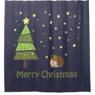 Merry Christmas! Hedgehog Elf Holiday Scene Shower Curtain