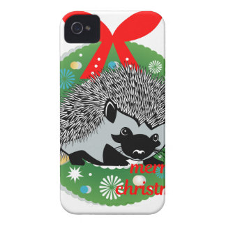 merry christmas hedgehog iPhone 4 Case-Mate cases
