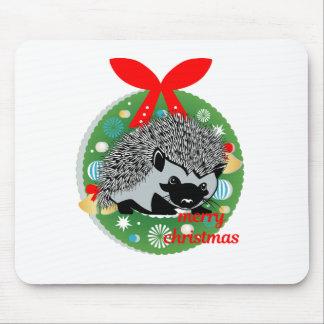 merry christmas hedgehog mouse pad