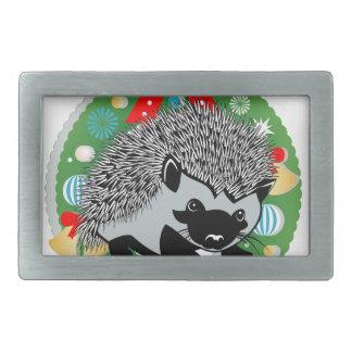 merry christmas hedgehog rectangular belt buckles