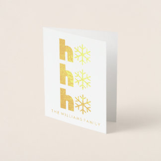 Merry Christmas | Ho Ho Ho Golden Snowflake Foil Card