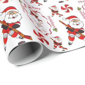 Merry Christmas Hockey Santa Claus Wrapping Paper