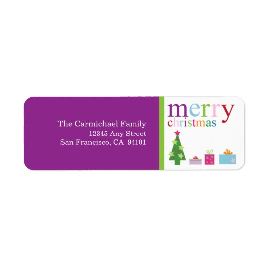 Merry Christmas Holiday Address Labels (purple)