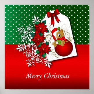 Merry Christmas Holiday Bear Poster