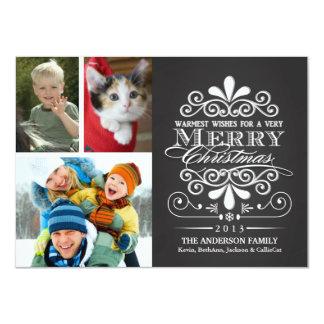 Merry Christmas Holiday Chalkboard Photos 11 Cm X 16 Cm Invitation Card