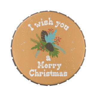 Merry Christmas Holiday Decor Candy Tin