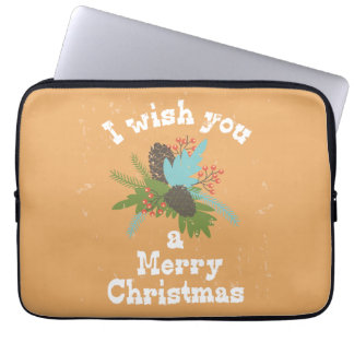 Merry Christmas Holiday Decor Computer Sleeve