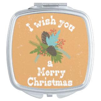 Merry Christmas Holiday Decor Makeup Mirror