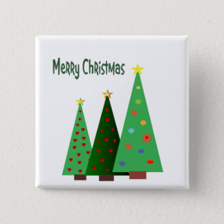Merry Christmas. Holiday decorated trees 15 Cm Square Badge