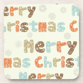 Merry Christmas Holiday Design Beverage Coaster