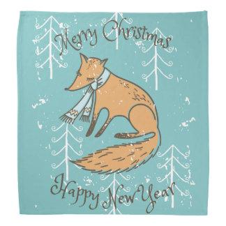 Merry Christmas Holiday Fox Cozy Bandana