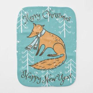 Merry Christmas Holiday Fox Cozy Burp Cloth