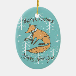Merry Christmas Holiday Fox Cozy Ceramic Oval Decoration