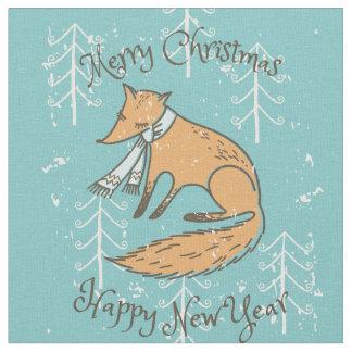 Merry Christmas Holiday Fox Cozy Fabric