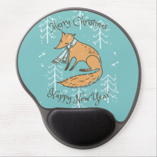 Merry Christmas Holiday Fox Cozy Gel Mouse Pad