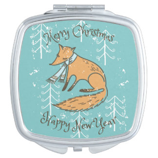 Merry Christmas Holiday Fox Cozy Mirrors For Makeup