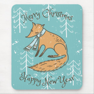 Merry Christmas Holiday Fox Cozy Mouse Pad