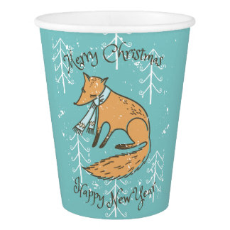 Merry Christmas Holiday Fox Cozy Paper Cup