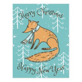 Merry Christmas Holiday Fox Cozy Postcard