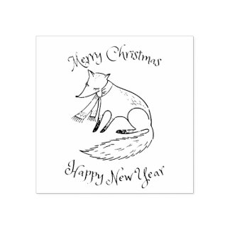 Merry Christmas Holiday Fox Cozy Rubber Stamp