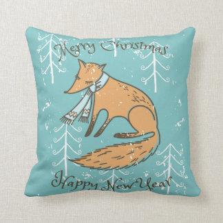 Merry Christmas Holiday Fox Cozy Throw Pillow
