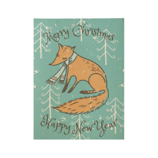Merry Christmas Holiday Fox Cozy Wood Poster