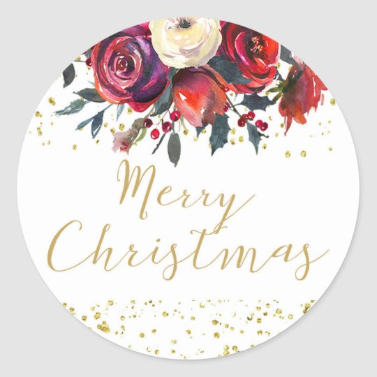 Merry christmas holiday gold script holly floral classic round sticker