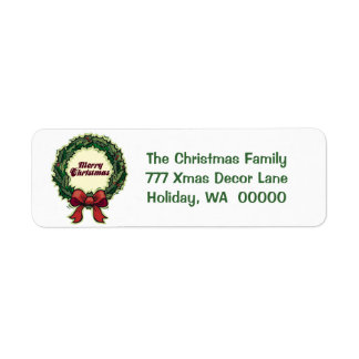 Merry Christmas Holiday Greeting Card Mail Label Return Address Label