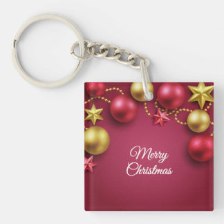 Merry Christmas Holiday Greeting Acrylic Keychain