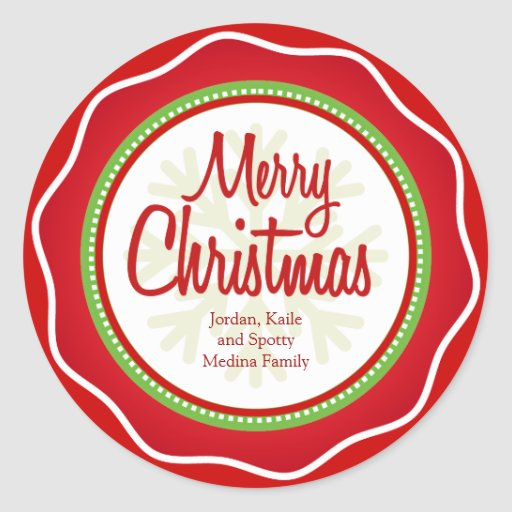 Merry Christmas Holiday Greetings Labels Stickers