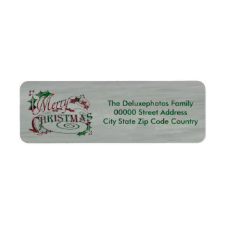 Merry Christmas Holiday Holly Return Address Label