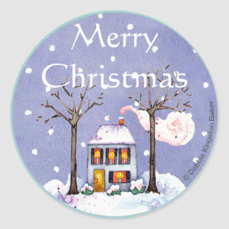 Merry Christmas holiday home Round Sticker