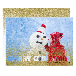 Merry Christmas Holiday Photo Card - Gold Glitter