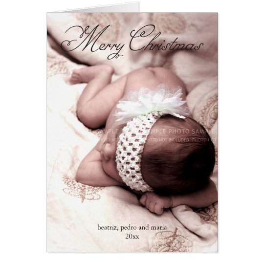 Merry Christmas Holiday Photo Elegant Script Black Card