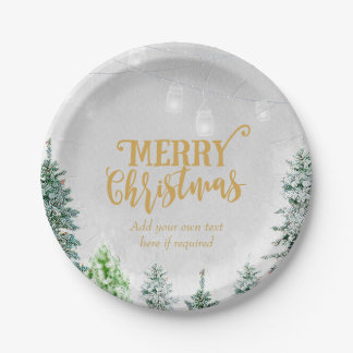 Merry Christmas holiday plate snow winter trees