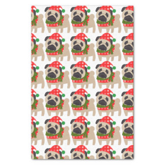 Merry Christmas Holiday Pug Dog Tissue Paper