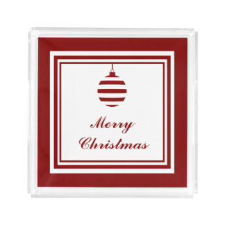 Merry Christmas Holiday Red And White Bauble Acrylic Tray