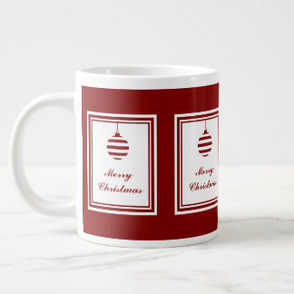 Merry Christmas Holiday Red And White Bauble Large Coffee Mug