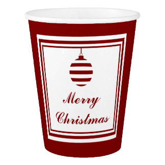 Merry Christmas Holiday Red And White Bauble Paper Cup