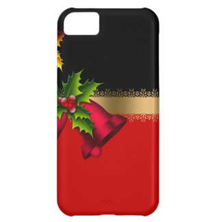 Merry Christmas Holiday Red Bells Black Gold iPhone 5C Case